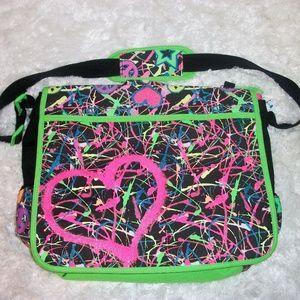 Justice Girls Messanger/ Laptop Bag Splatter Paint